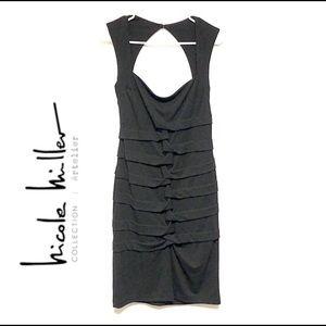 BOGO Nicole Miller Black Open Back Evening Dress L